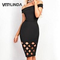 VESTLINDA New Off Shoulder Sexy Evening Party Dresses Women Slash Neck Black Dress Vestidos Robe Femme
