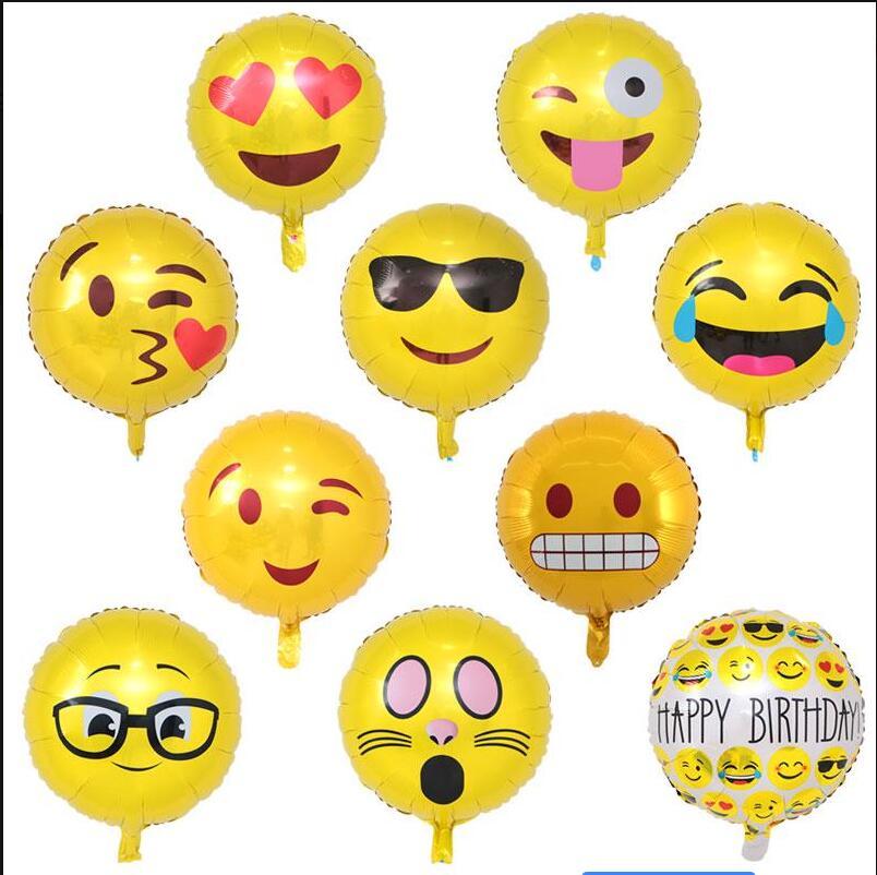 50pcs 18inch Expression Emoji Balloons Foil Happy Birthday Party Emoticons Helium Ballon Wedding Decor Inflatable Balls