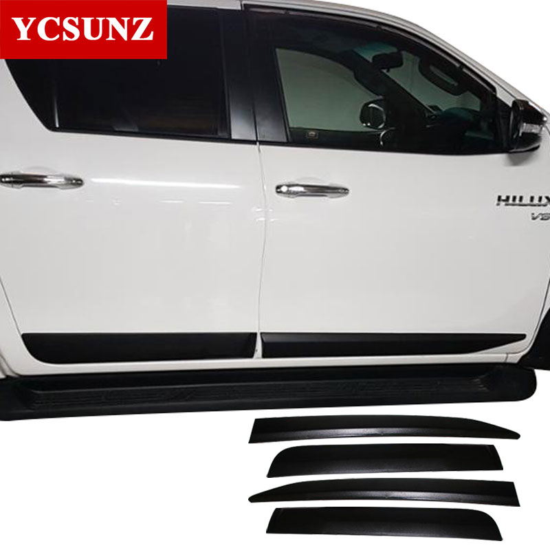 Car Accessories ABS Injection Black Side Molding Body Kits Trim For Toyota Hilux Revo Rocco 2016