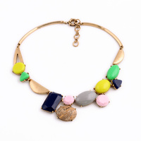 Candy Colorful Bohemia Necklace Top Statement Resin Stone Opaque Gem Fresh Beach Collar Necklace