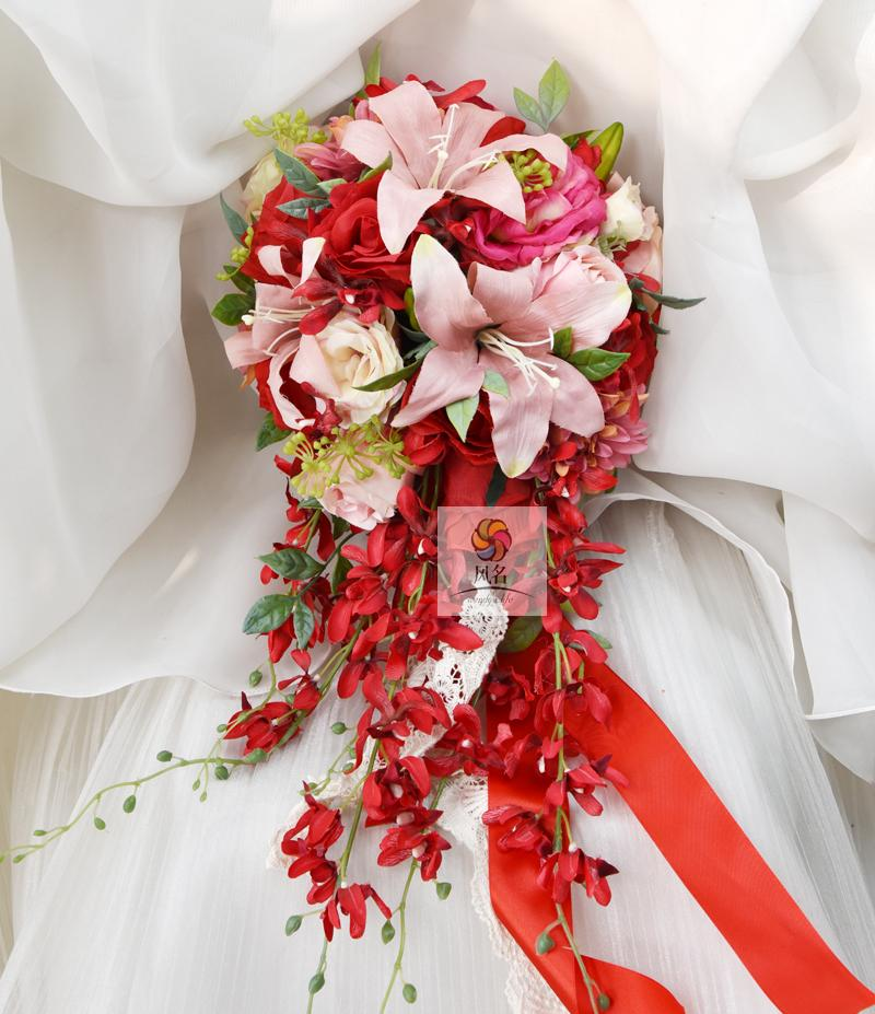 Wedding Hand Bouquet Flower: Waterfall Style Handmade Wedding Bridal Bouquet Red Color
