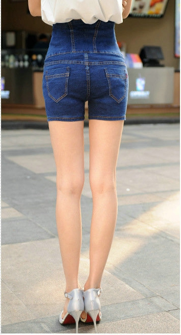 High Waist Denim Shorts Women Summer Style Plus Size 3 4 5 6 XL Casual Slim Jeans Shorts Blue DTY09