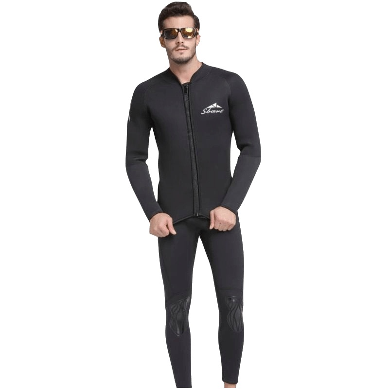 2018 Men Wetsuit Two piece 2mm Neoprene Swimsuit Snorkeling Dive Surf Swim Suit Swimwear Spearfishing Long sleeve Beach Wear neoprene 2mm men black long sleeve wetsuit jacket tops surf diving swim suit full zipper scuba snokling men bathing beach shirts