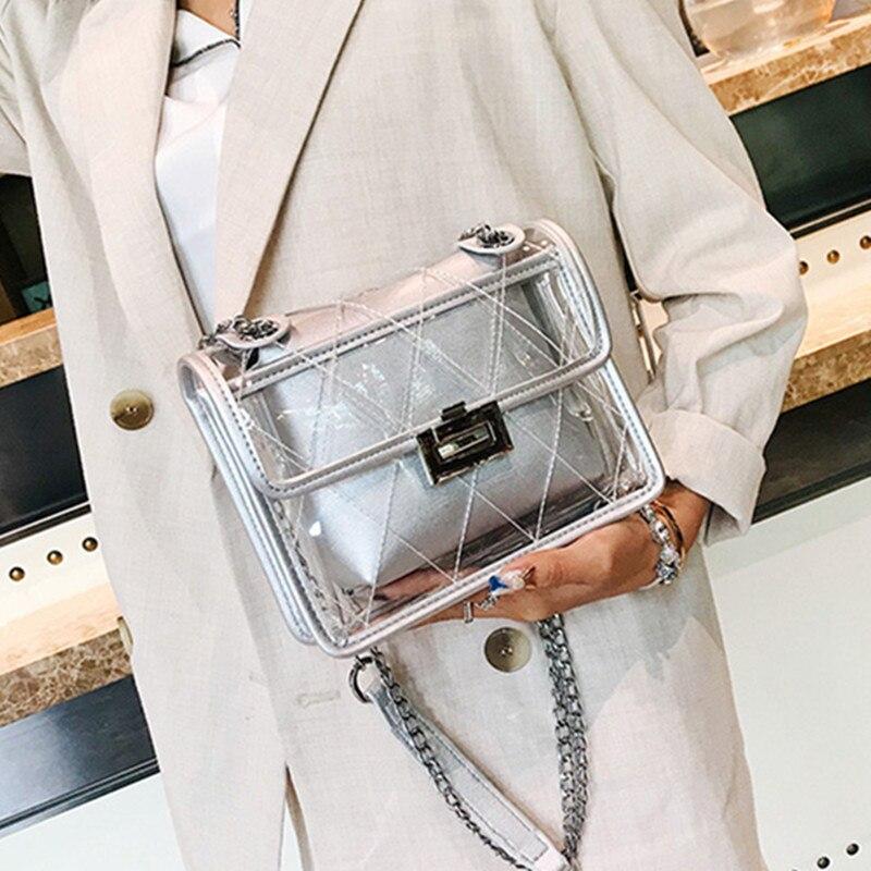 Прозрачный Для женщин сумка Для женщин Высокое качество модные прозрачного ПВХ леди композитный пляжная сумка женская через плечо сумочка