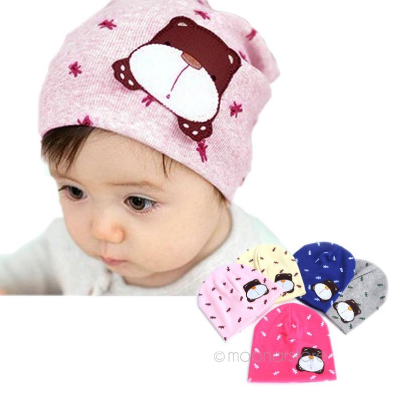 Lovely Baby Girls Boys Cartoon Cotton Sleep Cap Headwear Hat Newborn Beanie