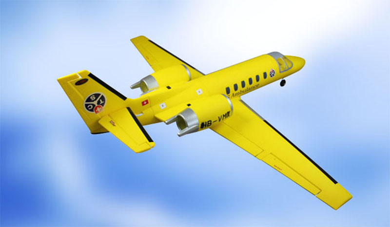 Dynam Yellow 1180MM Cessna 550 Turbo Jet RC RTF Propeller Plane W/ Motor Servos Battery радиоуправляемый самолет dynam cessna 310 2 4g