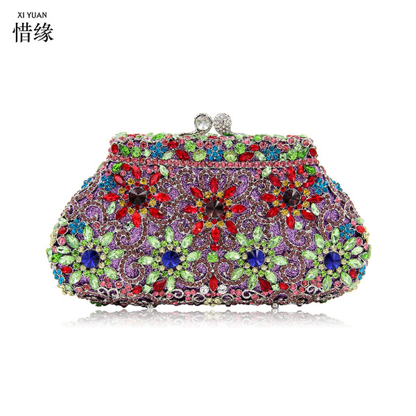 цена на XIYUAN BRAND Women Black Satin Evening Clutch Bag Ladies Diamond Crystal Day Clutches Purses Female Wedding Party Bridal Handbag