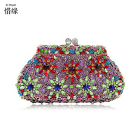 XIYUAN BRAND Women Black Satin Evening Clutch Bag Ladies Diamond Crystal Day Clutches Purses Female Wedding Party Bridal Handbag