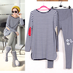 Maternity Suits Pregnant Striped Shirt +Leggings Pants Long Sleeved T-shirt Set for Women Clothing Spring Autumn Winter Clothes stylish long sleeves striped shirt dress for women