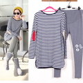 Ternos maternidade Grávida Camisa Listrada + Leggings/Calças de Manga Comprida Conjunto T-shirt para As Mulheres Roupas de Primavera/Outono/inverno