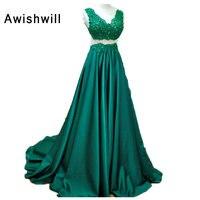 Emerlad зеленый вечернее платье для Для женщин сексуальная прозрачная задняя аппликации Бисер атласная длинное платье на заказ партии Вечерни
