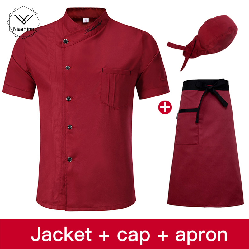 High Quality Summer Cool Red Chef Dress Short Sleeve Oblique Collar Free Badge Label Hotel Uniform Shirt+chef Hat+beauty Apron