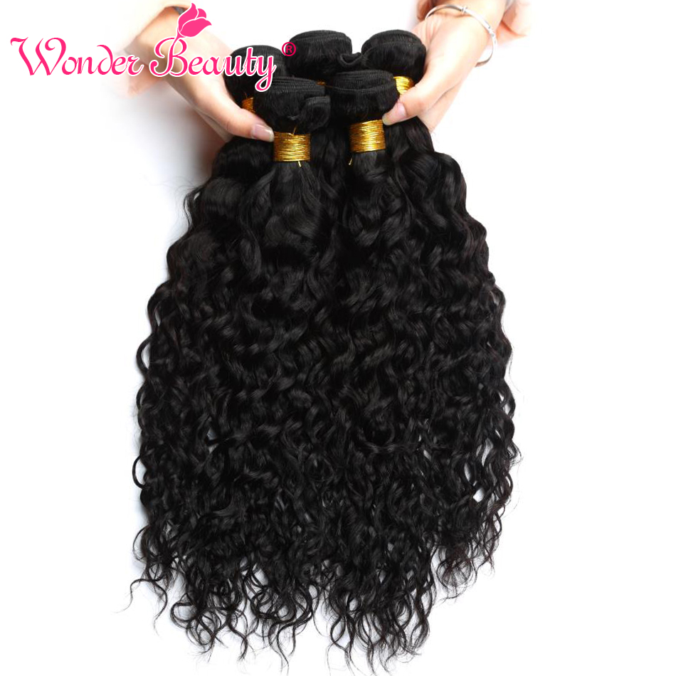 Wonder Beauty Human Hair Extensions Brazilian Water Wave 4 Bundles deal Mixed Length Hair Weave Black Machine Double Weft
