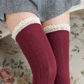 Women high quality Twist Lace stitch cotton stockings sexy thigh high over knee Female solid color thick warm Long stocking