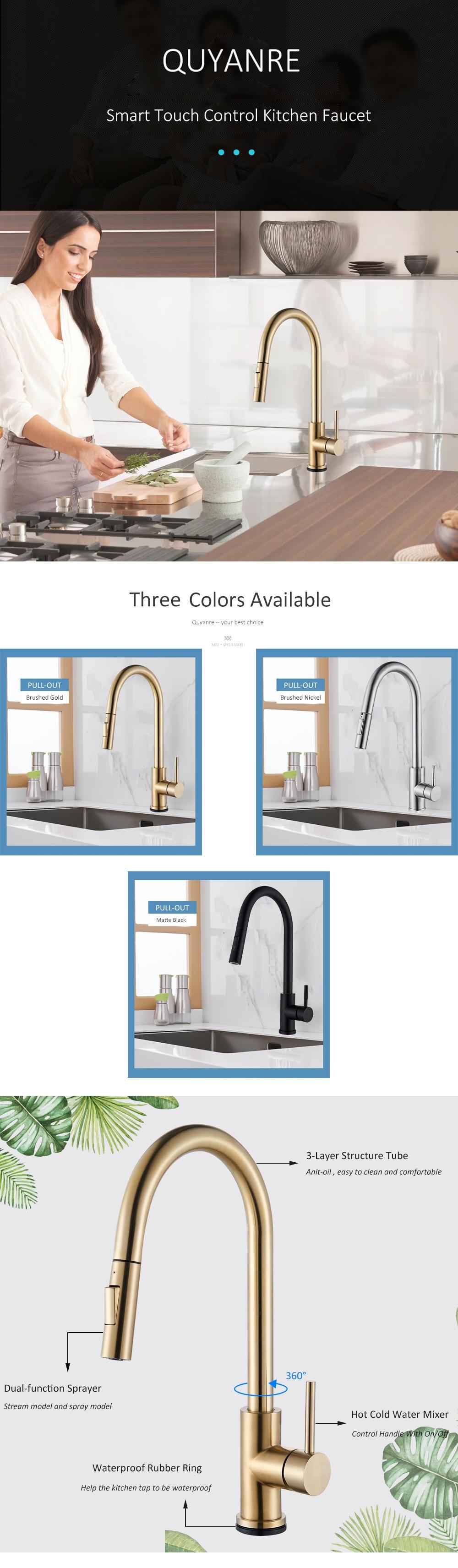 HTB1TfpkeEuF3KVjSZK9q6zVtXXa2 Champagne Bronze Gold Sensor Kitchen Faucets Sensitive Smart Touch Control Faucet Mixer Tap Touch Sensor Smart Kitchen Taps
