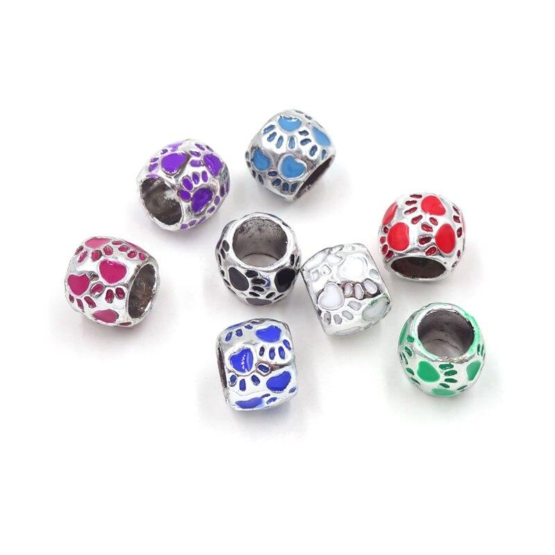 10X Silver Plated Enamel Love Heart Charm Big Hole Beads Fit DIY Bracelet Making