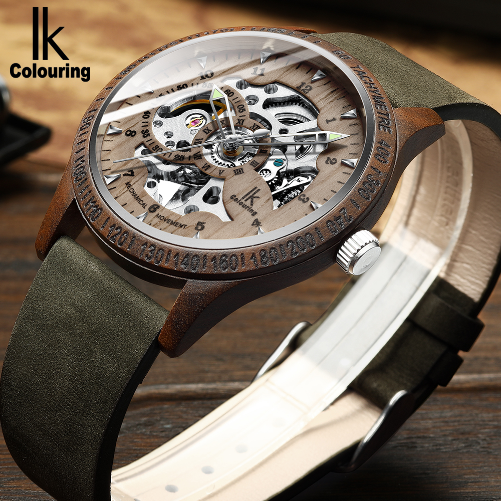 IK Colouring Men Watch Fashion Casual Wooden Case Crazy Genuine Leather Strap Wood Watch Skeleton Auto