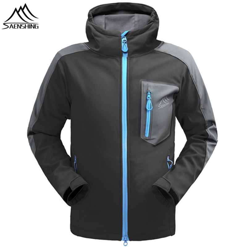 SAENSHING Waterproof Softshell Jacket Men's Windbreaker Breathable Fleece Warm Rain Coat Fishing Windstopper Outdoor Camping