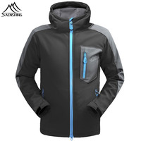 SAENSHING Waterproof Jacket Men Fleece Warm Softshell Jacket Rain Coat Hunting Clothes Outdoor Hiking Jacket Brand