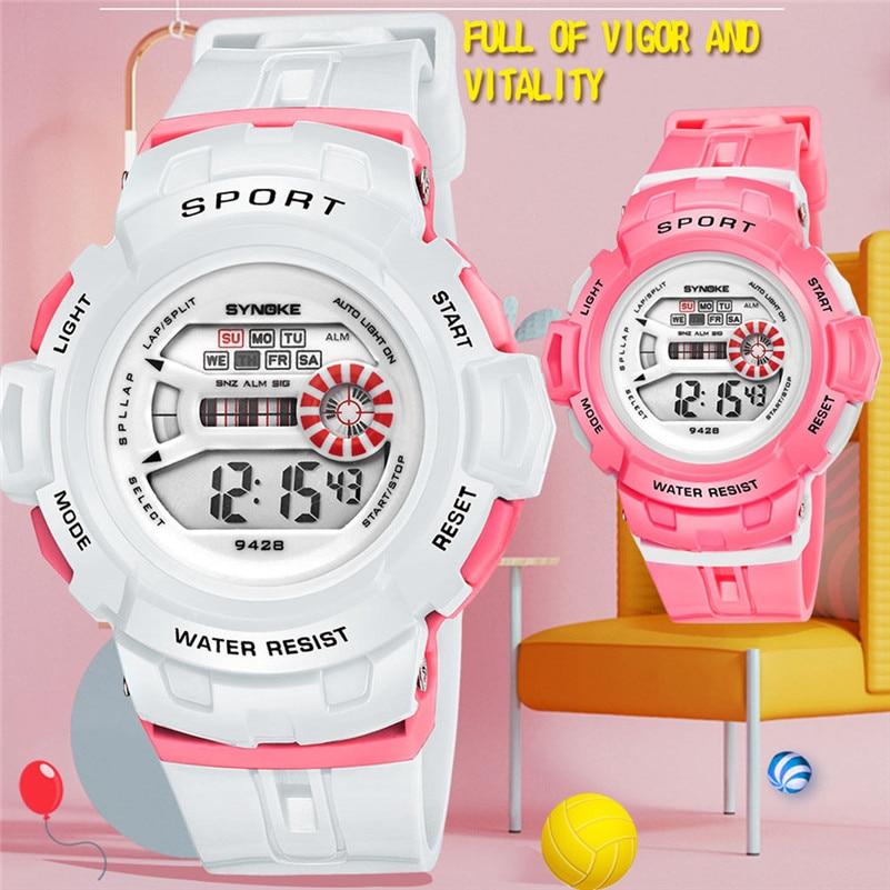 Boys Girls Student Watches Children Luminous LED Digital Watch Fashion Electronic Alarm Students Wrist Watch Kid Sport Clock /DD