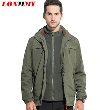 LONMMY M-4XL Hoodies jacket men Waterproof Thick Two-piece Detachable bladder Hooded mens jackets Mens coats military style