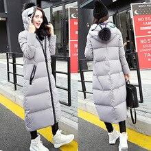 2016 New fashion women s Winter coat long sleeve Collar Down x long Warm Winter Jacket