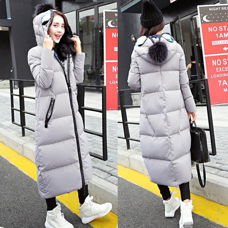 438028e87 2018 Nova moda das mulheres casaco de Inverno longo da luva do Colar Para  Baixo x-Casaco longo Inverno Quente