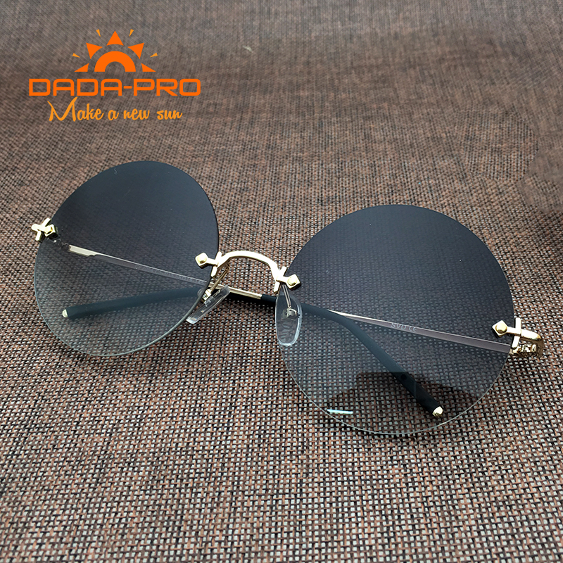 Luxury Brand Designer Italy Round Sunglasses Women 2017 Brown Vintage Metal Shade Frame Retro Cross Nerd