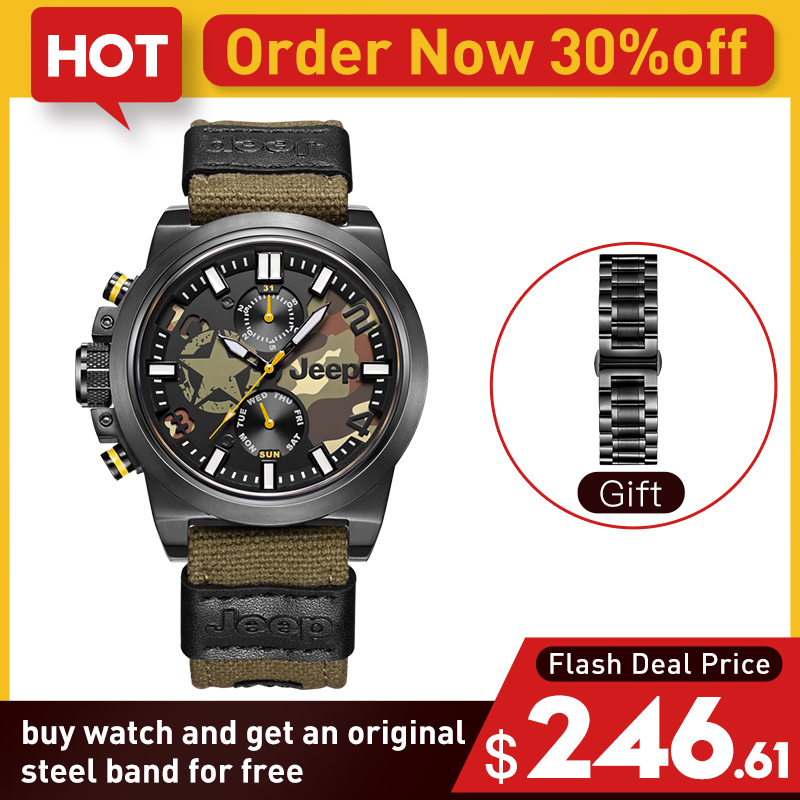 Jeep Original Mens Watches Quartz Canvas Strap Military Camouflage Stainless Ste