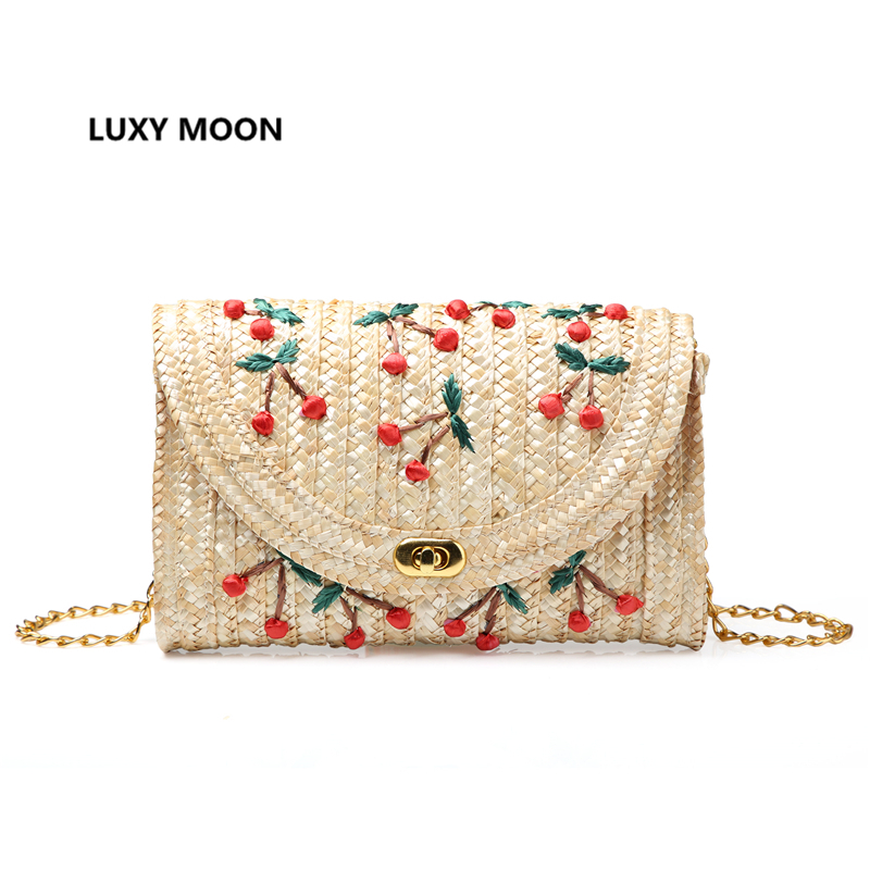 Fruit Cherry Banana Straw Beach Bag for Women Messenger Bags Embroidery Design Summer Cute Flap Chain Shoulder Bag Boho L20 пуф dreambag круг cherry