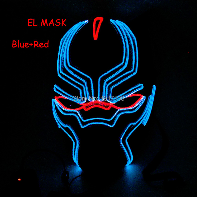 Hot sales EL wire mask for Party and Holiday DIY decoration and Bar EL glowing mask ligh ...