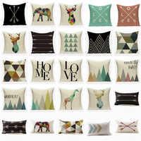 Nordic Geometric Cushion Covers Arrows Deer Elk Sofa Decorative Cushions Pillow Cover 45*45 Linen Beige Pillow Case funda cojín
