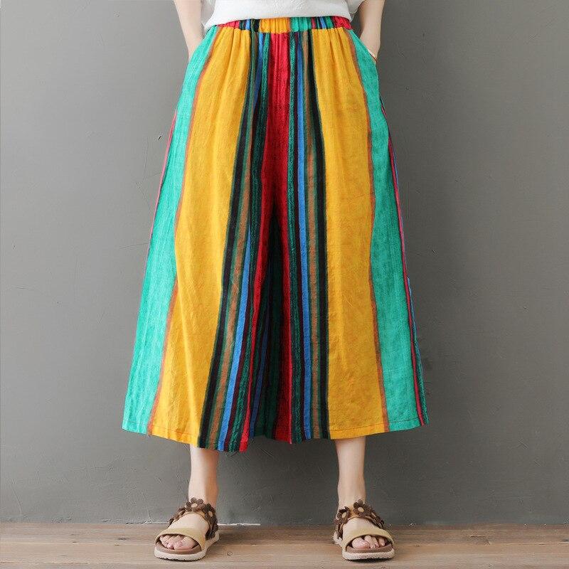 Johnature 2019 New Summer Multi Color Striped Loose Vintage Elastic Wiast Loose   Wide     Leg     Pants   Casaul Calf-length Women   Pants