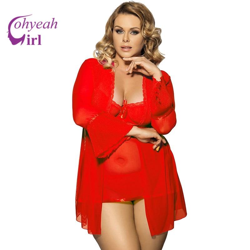 RW80185 حار بيع جنسي ساخن جنس الأبيض / أحمر الدانتيل بيبي دول مثير شبكة قميص زائد حجم انظر خلال ثوب النوم
