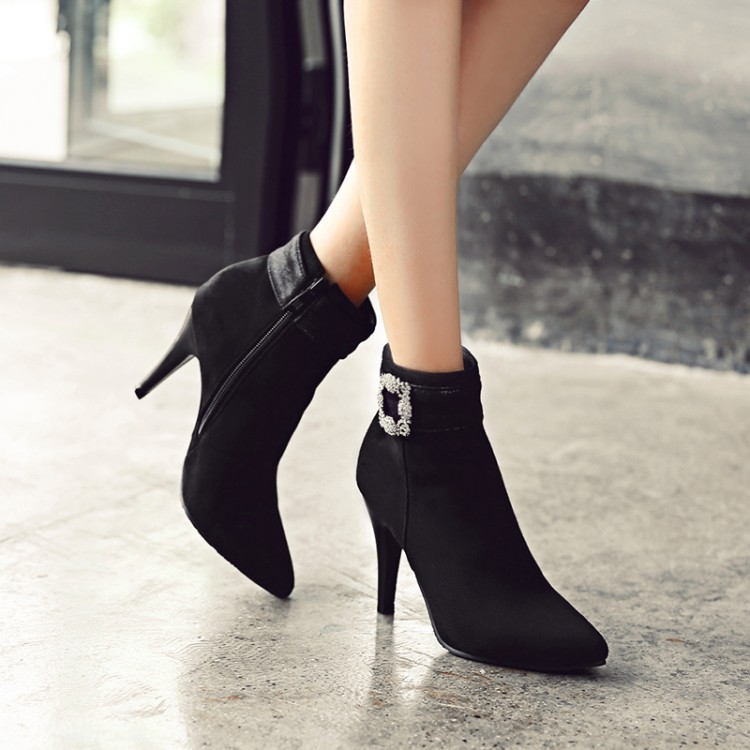 2017 Botas Mujer Winter Boots New Poninted Toe Buckle Boots For Women Sexy Ankle Heels Fashion Winter Shoes Casual Zip Snow  A26 famiao women boots sexy high heel zapatos mujer tacon 2017 gary black buckle ankle boots for women shoes pointed toe winter