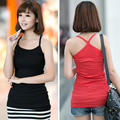 2016 Cheap Summer Style Women Hot Candy Tank Tops Woman Home Sleeveless Backless Cropped Tops Shirts Blouse