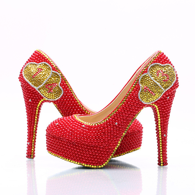 5abb8dc39a2 Moraima Snc brand sexy red gold pumps platform shoes women Handmade crystal high  heels shoes pumps Creative numbers women shoes