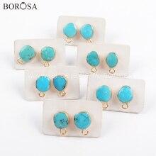 BOROSA 5/10 Çift Altın Elektrolizle Doğal Turquoises düğme küpe Çekicilik ile Doğal Mavi Taş Küpe Takı Bulma G1709