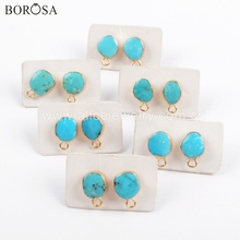 BOROSA 5/10Pairs Gold Electroplated Natural Turquoises Stud Earring with Charm Natural Blue Stone Earrings Jewelry Finding G1709