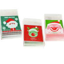 50/100pcs Cookie Gift Bags Christmas Santa Claus Snowman Snacks Plastic Packaging Party Wedding Candy Bag Kids Favor