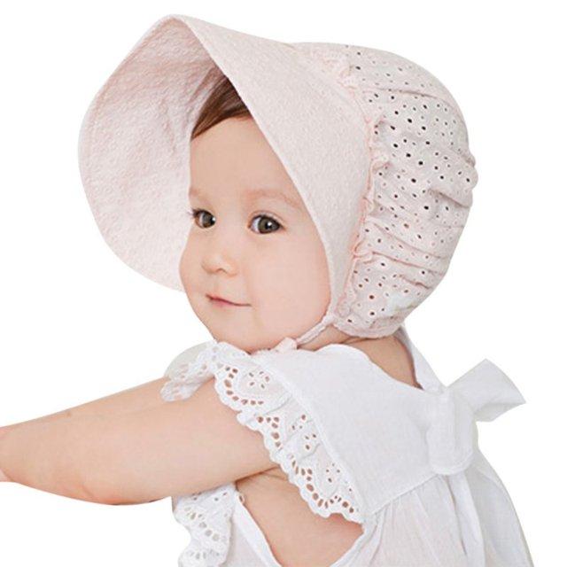 75de5b0298618 Sun Hats Toddlers Baby Girls Boys Lace Flower Hollow Cap Soft Bonnet 0-3Y  Bany Cap 4 Patterns