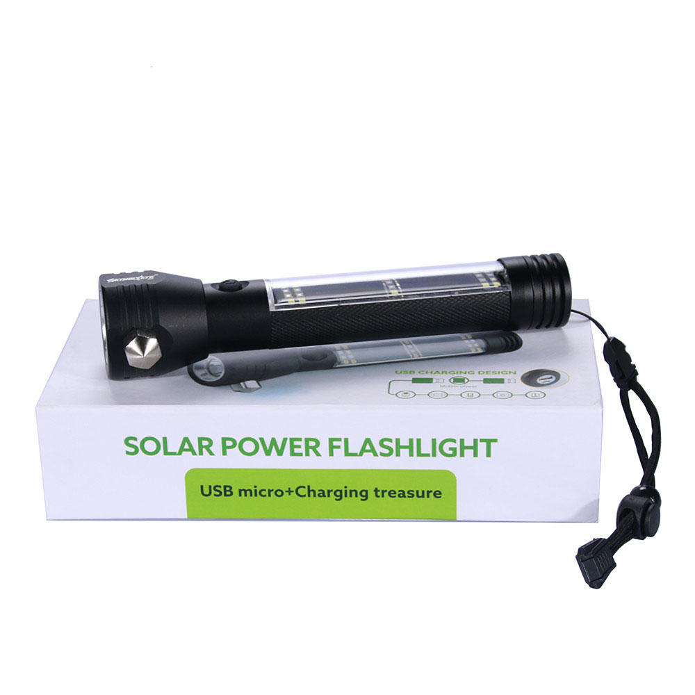 Survival 10-In-1 Solar Power Multi-Function Tactical Flashlight Glass Breaker Camping Outdoor Car Home Emergency Torch Dropshipi