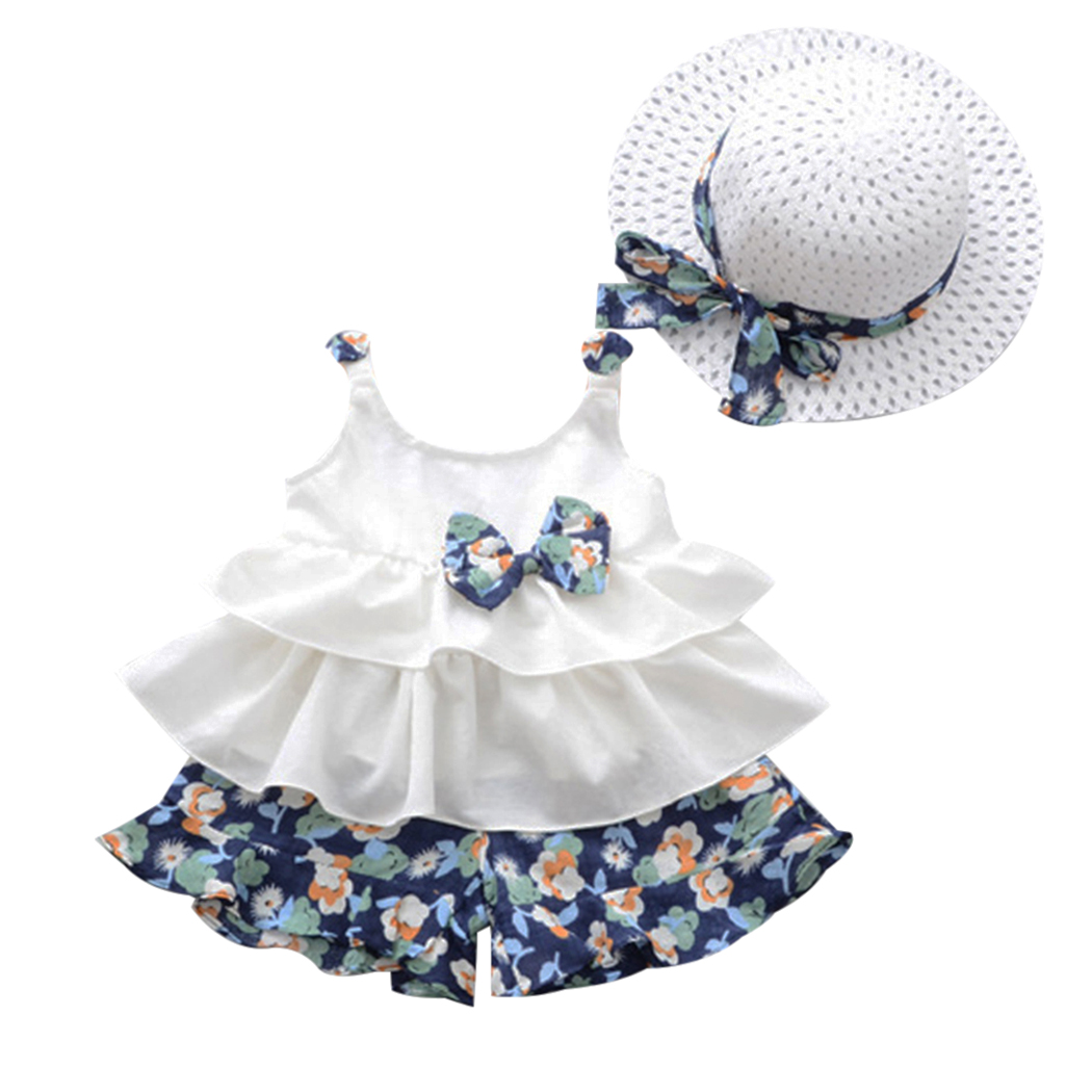 Summer White Strap Bow 3PCs For Girls Clothes Newborn Baby Girl Clothes Vest + Floral Shorts + Hat Set Baby Clothing Suit