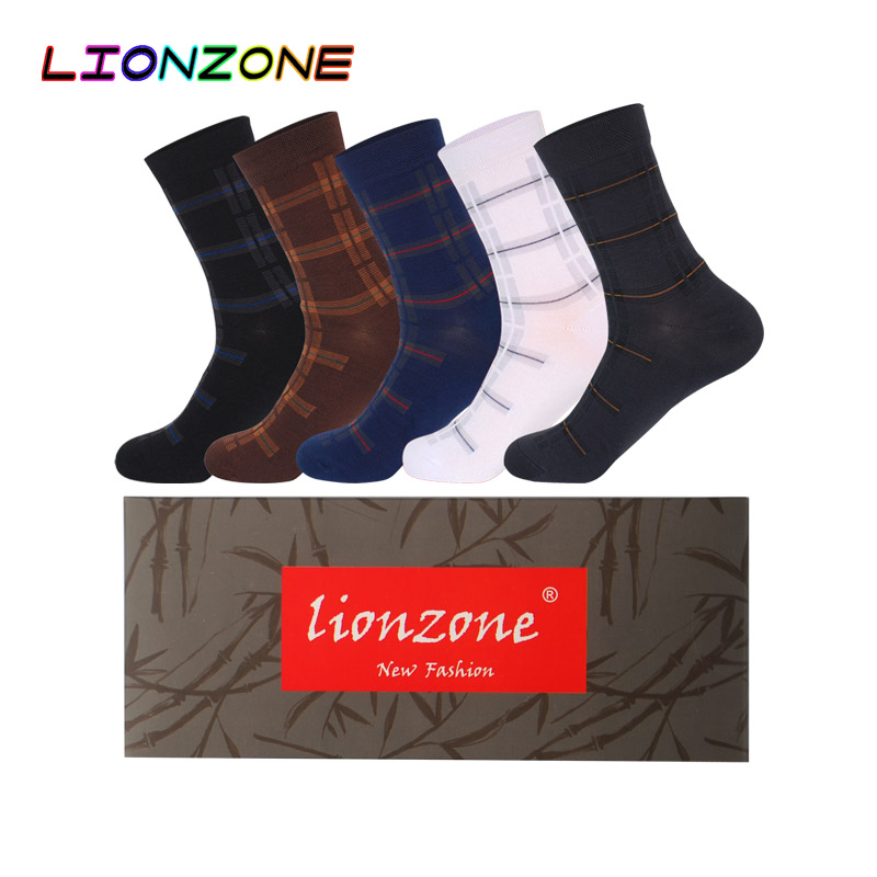 LIONZONE 5Pairs/Lot Business Dress Men Socks Plaid Warm Winter Breathable With Stripes Design Fashion Bamboo Fiber Men Sock