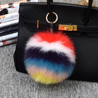 Multi Colored fox Fur Keychain Big Size Genuine Fox Fur Pompom Keychain In Multicolor Pompom Bag Accessories Fur With Ring
