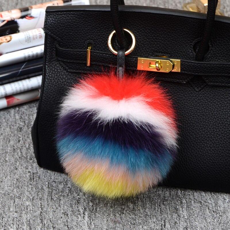 Porte-clés en fourrure de renard multicolore grande taille véritable pompon en fourrure de renard porte-clés en pompon multicolore accessoires en fourrure avec anneau