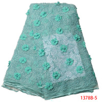 Embroidered 3D Fabric Applique Flowers Beaded Lace Fabric Aqua Blue African Lace Fabric For Nigerian Women Handmade QF1378B 2
