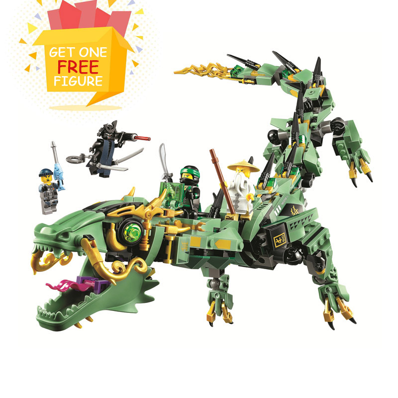 Bela Pogo Compatible Legoe 10718 573PCS+ Ninjagoe The Green Ninja Mech Dragon Building Blocks Bricks toys for children lepin 663pcs ninja killow vs samurai x mech oni chopper robots 06077 building blocks assemble toys bricks compatible with 70642