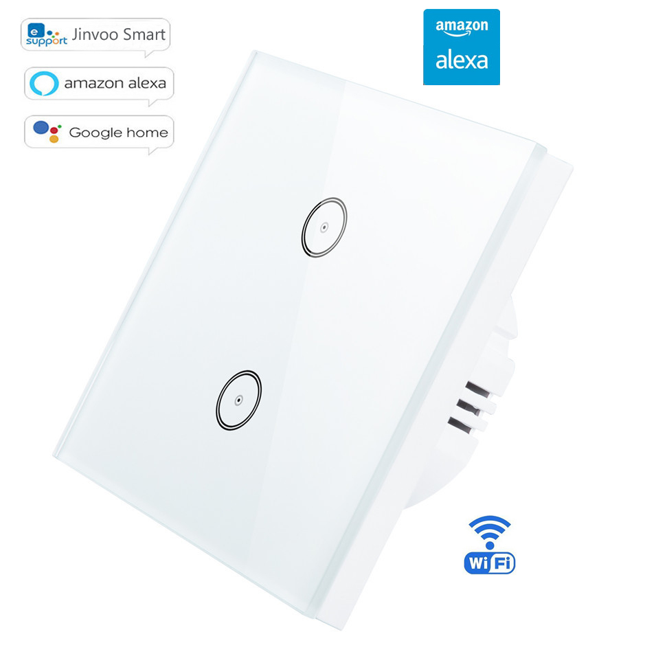 Interrupteur sans fil EU Type 1/2/3 Gang Wifi interrupteur intelligent applique murale panneau tactile en verre Wifi lampes à distance marche/arrêt avec Amazon Alexa