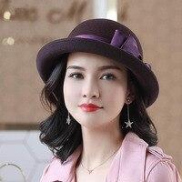 ba0de4d4163826 Fashion Wide Brim Wool Black Women Fedora Hat Felt Ladies Formal Hats  Elegant Bowknow Round Cloche